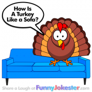 Funny Turkey On The Sofa Joke
